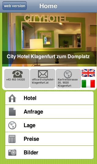Mobile Hotel Website Cityhotel Klagenfurt zum Domplatz