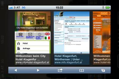 mobile Google Suche nach Hotels in Klagenfurt
