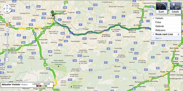 Verkehrsdaten in Google Maps am Desktop für  Österreich und Wien