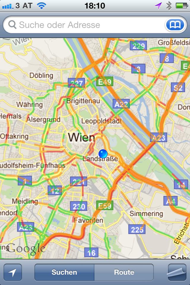 Google Verkehrsdaten am iPhone in Wien mit Stau