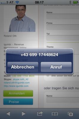 Aktive Telefonnummer auf der Website hinterlegen. besonders wichtig für die Optimierung einer Hotelwebsite für den mobilen Zugriff.