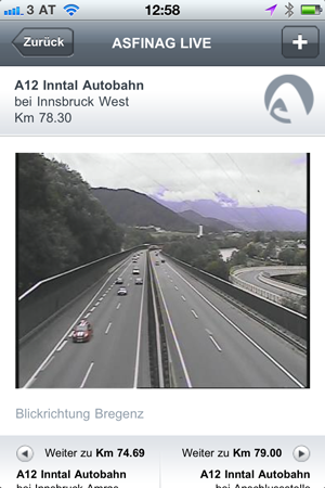 Blick auf die Staulage der A12 - Inntal Autobahn von der Asfinag App #stau #verkehrsinfo