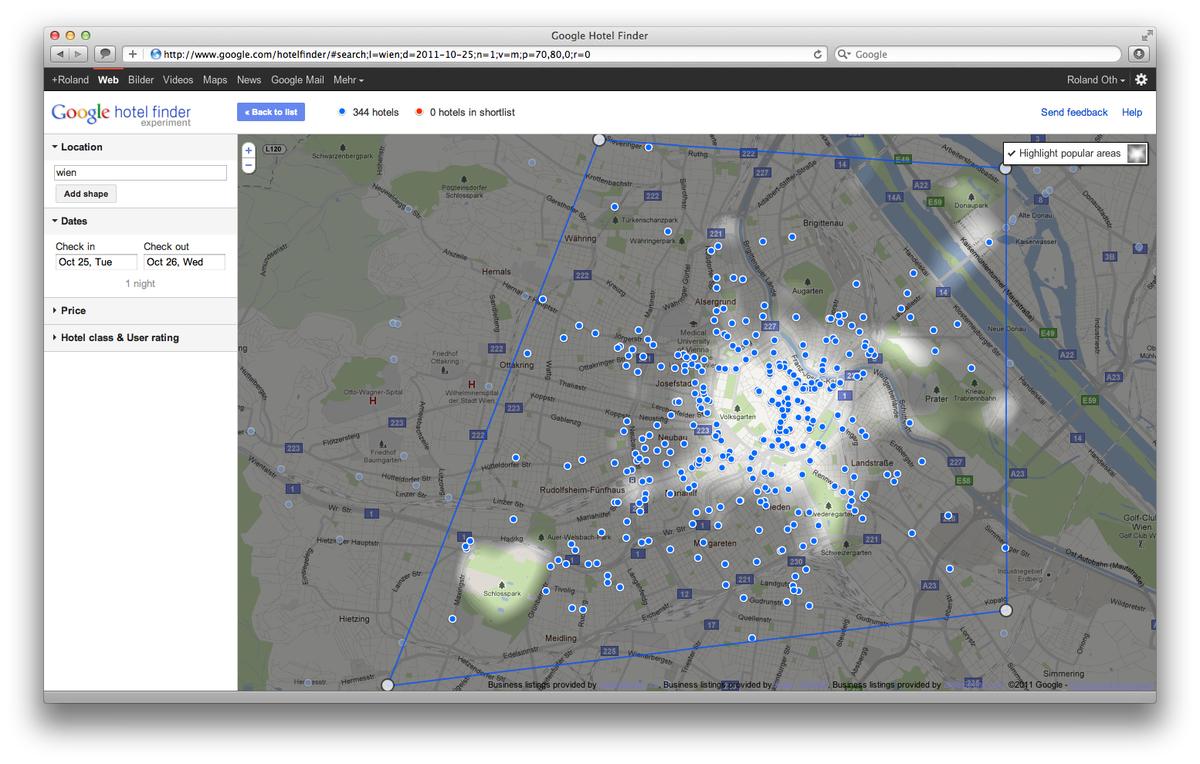 Google Hotel Finder Wien Popular Areas