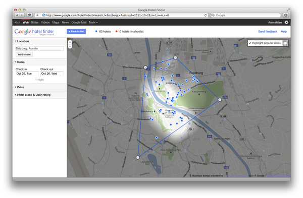 Google Hotel Finder Salzburg popular Areas