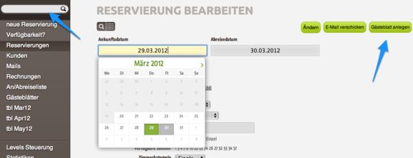 Einstieg zum anlegen eines elektronischen Gästeblatt / Meldeschein - die Daten der Reservierung werden übernommen. #meldeschein #gästeblatt