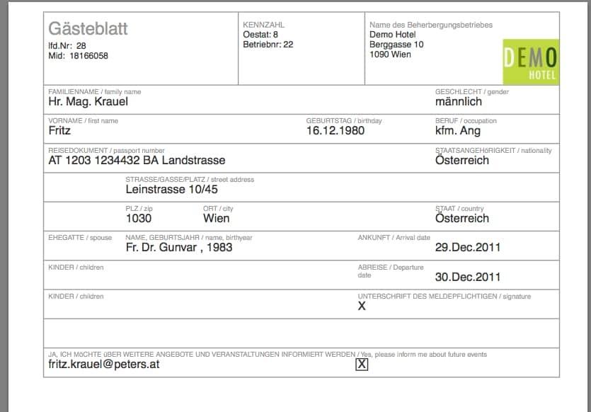 PDF Meldeschein zum Ausdrucken und für die Unterschrift des Gastes beim igumbi elektronischen online Gästeblatt / Gästemeldeschein /Meldeschein für Hotels