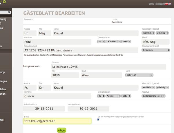 Einfaches und einseitiges Webformular zur Erfassung der Daten für das elektronische Gästeblatt / online Meldeblatt für Hotels     #gästeblatt #meldeschein