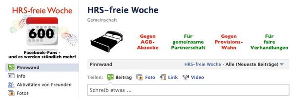 Facebook Protest Seite gegen HRS Provsionserhöhung: HRS-freie Woche. #ota #provisionen