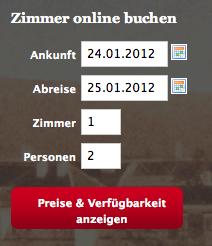 igumbi Online Buchungstool Einstieg in rot / Hotel IBE Start / online  Website Buchungssystem