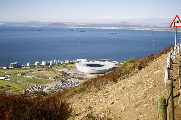 Blick vom Signal Hill auf Green Point und das WM Stadion in Kapstadt