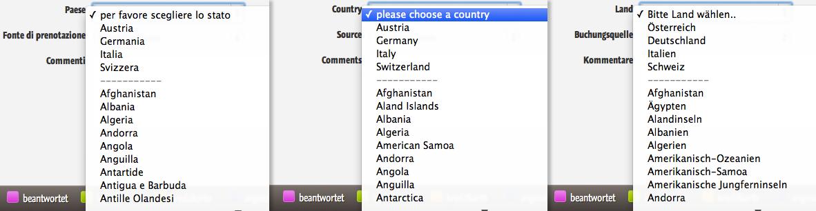 Herkunftsland auswählen in mehreren Sprachen in der igumbi Hotelsoftware
