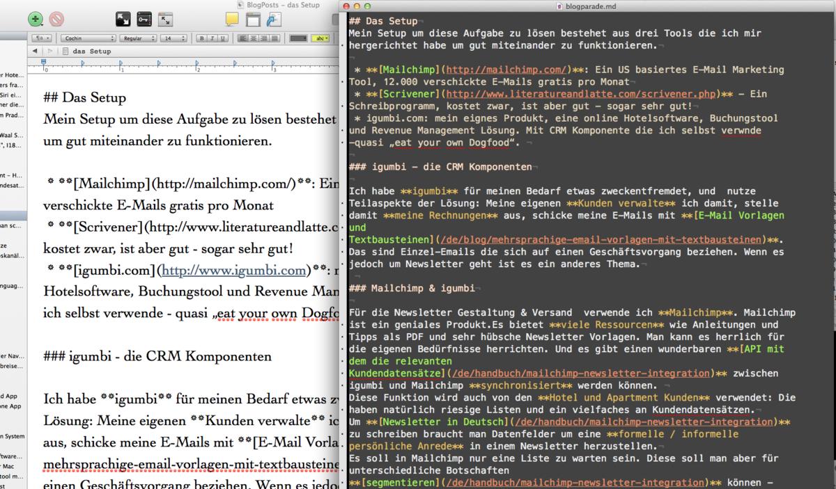 Text bearbeiten in Scrivener und Exportiert als Markdown in Textmate