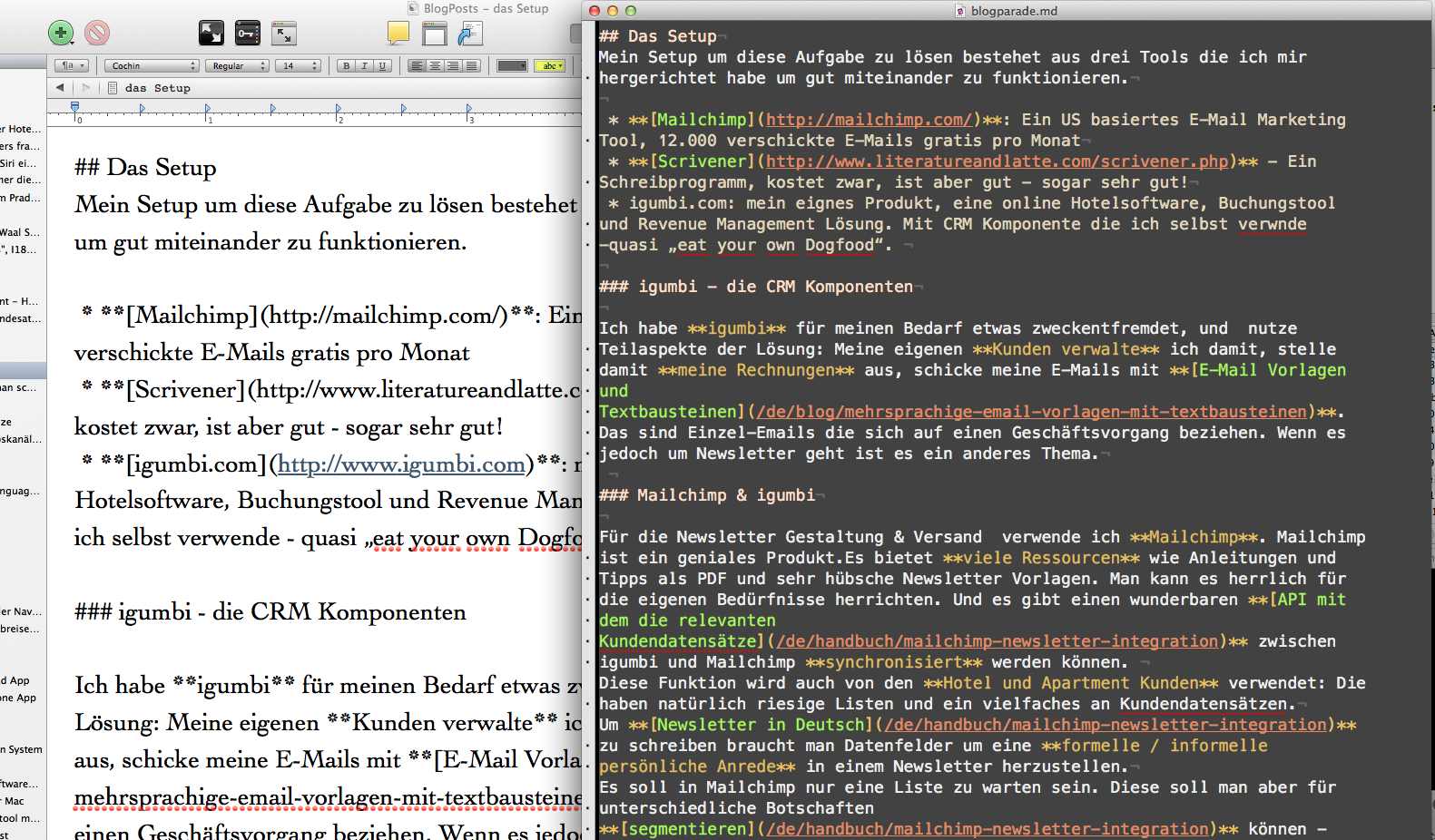 Newsletter Workflow: Schreiben in Scrivener, Versand mit Mailchimp