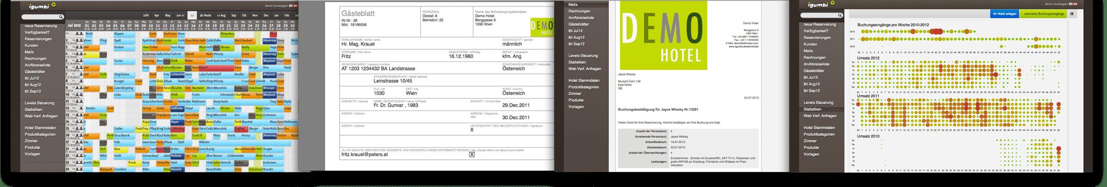 igumbi Hotelsoftware Demo System Übersicht
