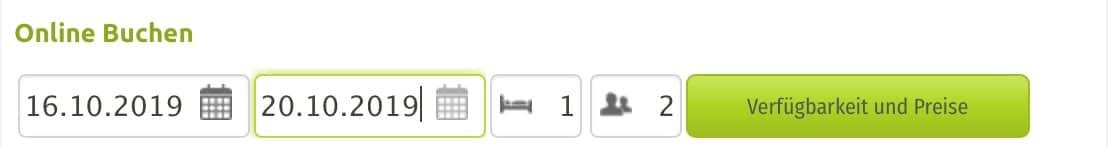 horizontales Anfragefenster im igumbi Online Buchungstool für Websites mit wenig horizontalem Platz. Für provisionsfreie Direktbuchungen von ihrer Hotel Website.