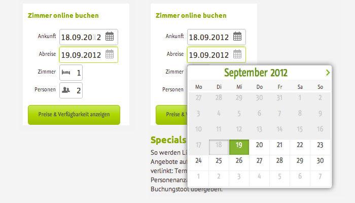 igumbi online Buchungstool nach der Überarbeitung. online buchungssystem für die Hotel Website. UX Verbesserung.