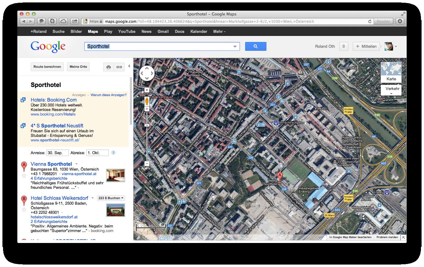 Apple Maps URL mit redirect zu Google mit Hotelnamen als Suchparameter