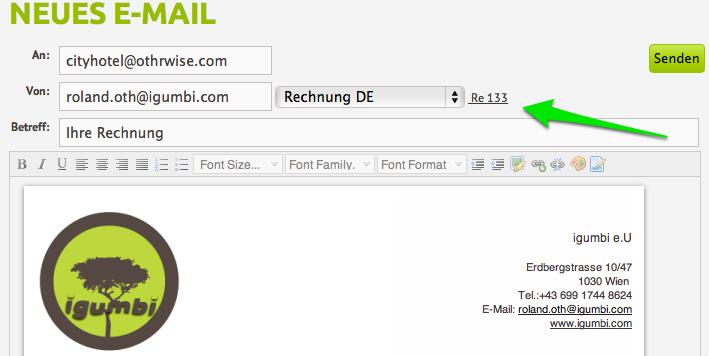 Rechnung per E-Mail als Anhang verschicken, ohne copy & pastemit der igumbi Hotelsoftware #hotelsoftware #rechnung #vorlagen