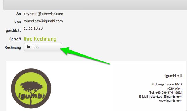 Rechnungs als Anhang der verschickten E-Mail in der igumbi online Hotelsoftware App E-Mail Vorlagen aus der Hotelsoftware mit der Rechnungsversand Vorlage