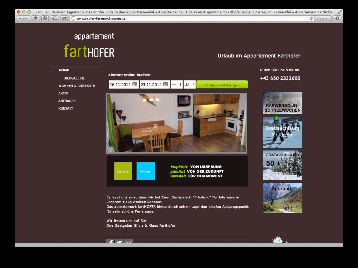 neuer kunde appartement farthofer in schwaz tirol. Black Bedroom Furniture Sets. Home Design Ideas