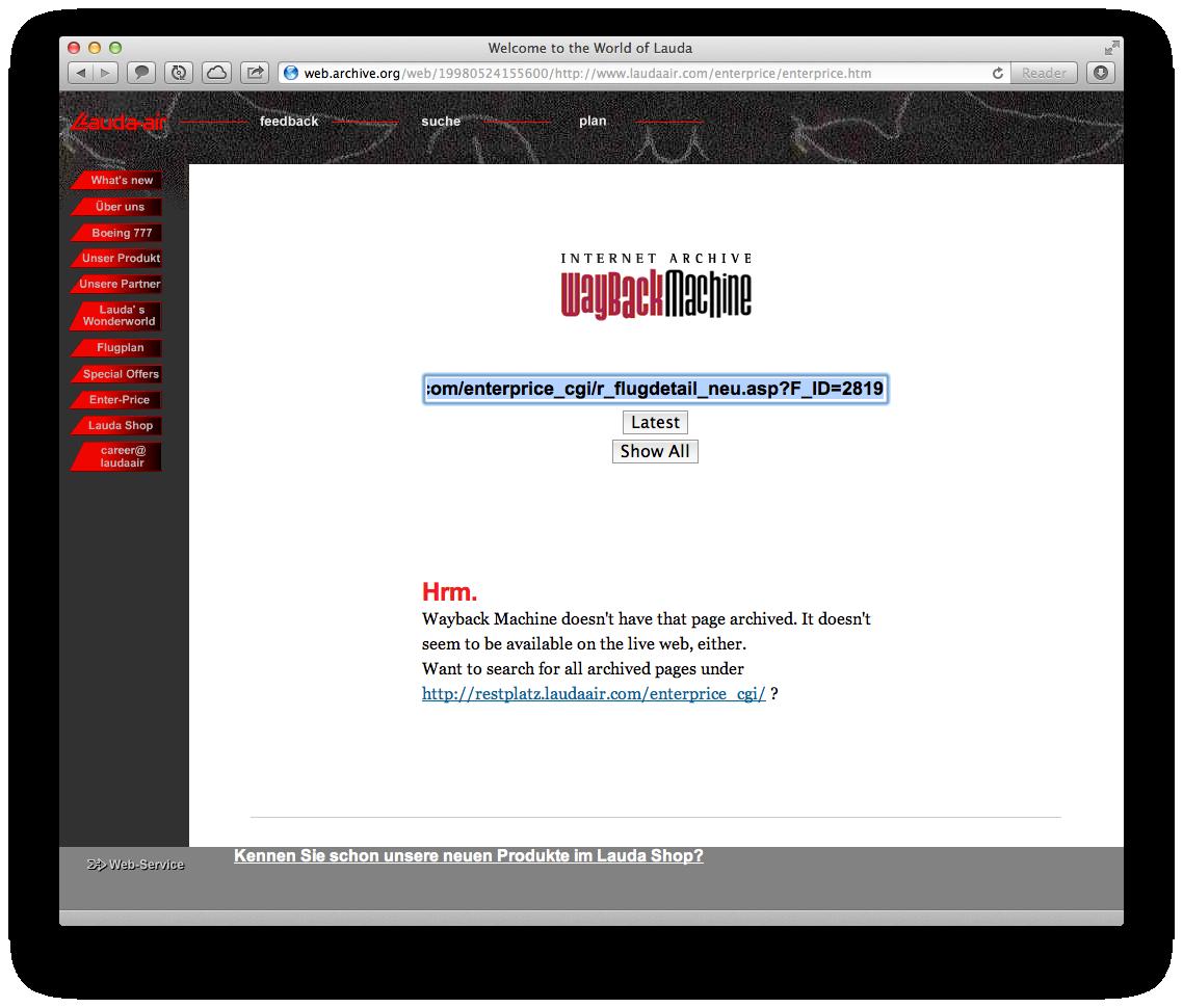 Das Buchungsscript des ersten Lauda Air online Buchungstools