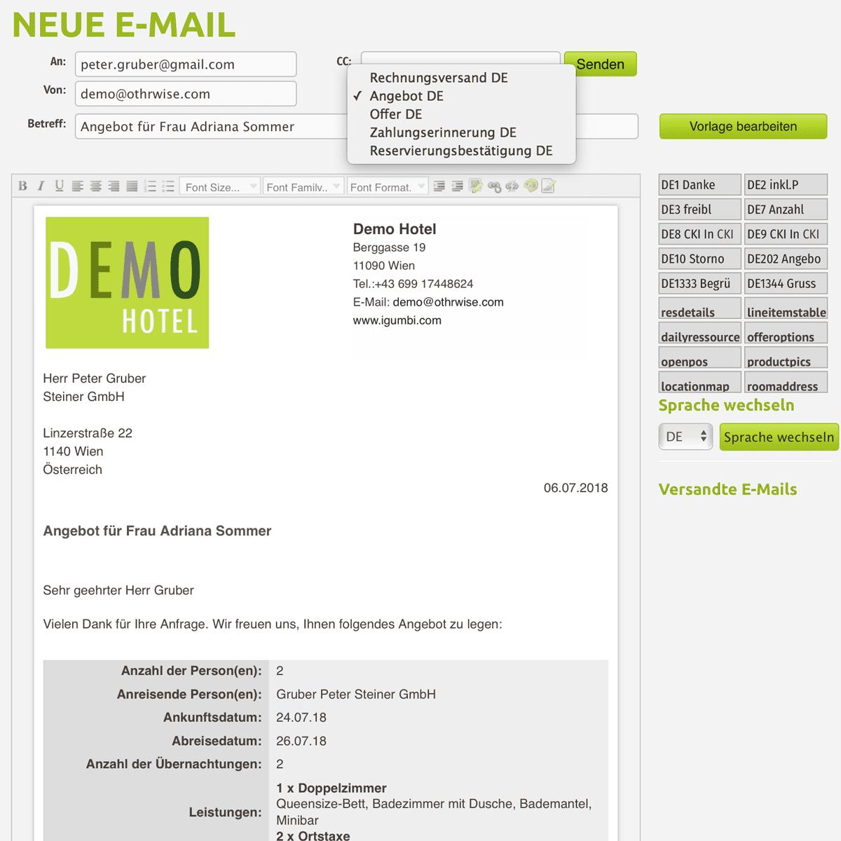 Das Hotel E-Mail Vorlagen mit Textbausteinen zum schnellen und einfachen Versand Ihrer Angebote, Reservierungsbestätigung und für den Rechnungsversand. Schöne HTML E-Mails ohne copy-paste Akrobatik