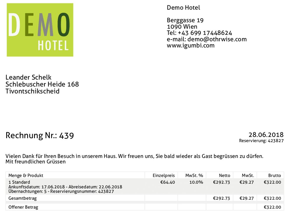Ausstellung der Hotelrechnung im PDF-Format. Perfekt formatiert mit Ihrem eigenem Hotel Logo hotelsoftware rechnung
