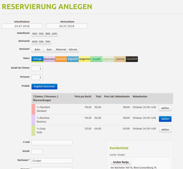 Anlage von neuen Reservierung / Hotelbuchung - in der igumbi online Hotelsoftware für kleine Hotels, Software für Hotelbuchungen