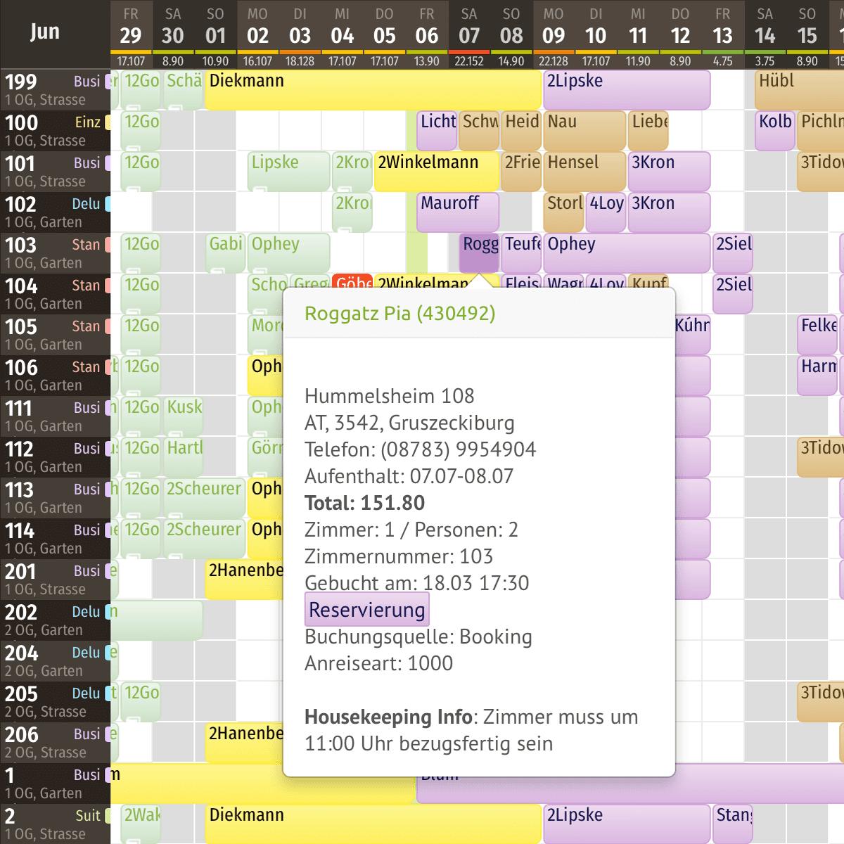 Funktionen des igumbi online Hotel Belegungsplans: Info Hubble für die die Info schnelle Info über die Reservierung