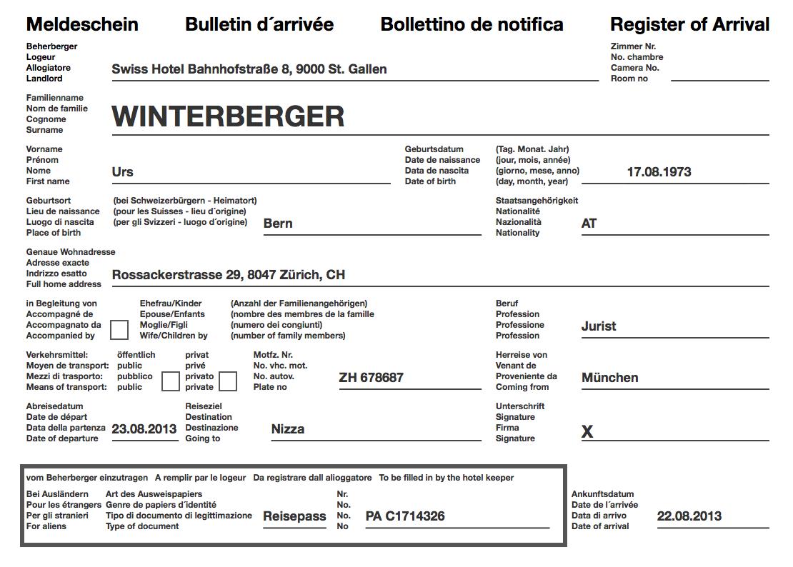 Der Schweizer Hotel Meldeschein - als PDF Datei aus der igumbi online Hotelsoftware. Zum Ausdrucken und unterschreiben (Bulletin d´arrivée, Bollettino de notifica, Register of Arrival) online hotelsoftware schweiz meldeschein meldezettel