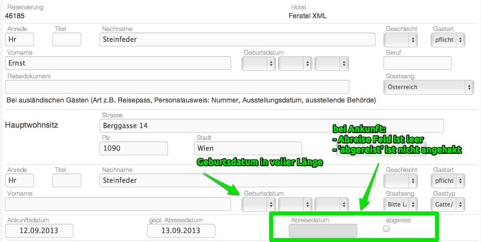 Änderungen am Gästeblatt um zwischen Ankunft und Abreise zu trennen. #online #hotelsoftware #gästeblatt #meldeschein