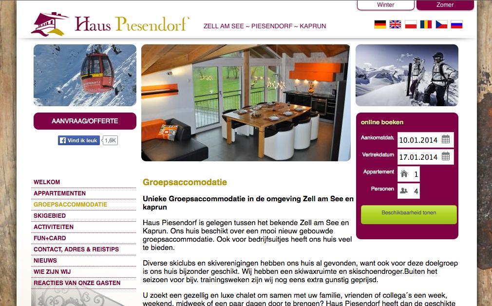 Haus Piesendorf in der Region Zell am See, Kaprun, Piesendorf verwendet das igumbi Buchungssystem auf der Website in mehreren Sprachen: Deutsch, Englisch, Holländisch, Tschechisch, Russisch & Polnisch