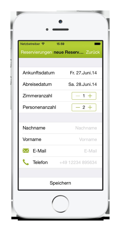 igumbi Hotelsoftware iPhone App: eine neue Reservierung anlegen am iPhone 5. Hotel App