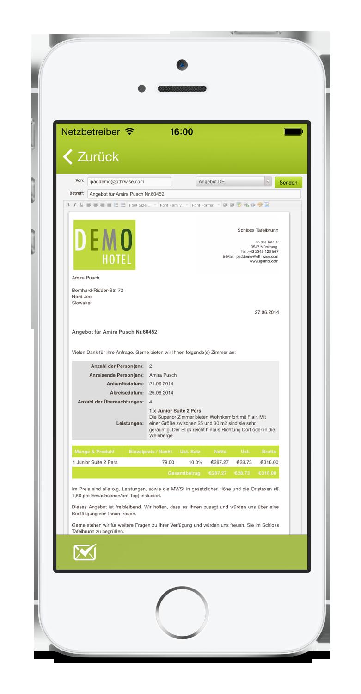 igumbi Hotelsoftware iPhone App: Angebote und Buchungsbestätigungen versenden mit den E-Mail Vorlagen am iPhone 5. Hotel App