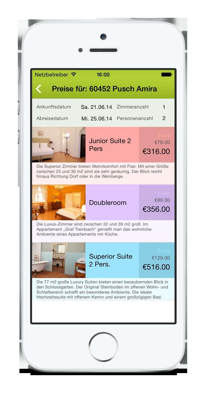 igumbi Hotelsoftware iPhone App: Preise einer Reservierung zuteilen am iPhone 5. Hotel App