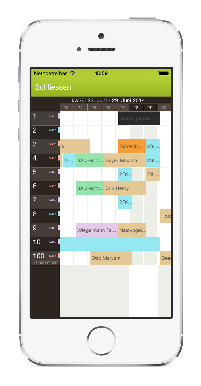 igumbi Hotelsoftware iPhone App: der Belegungsplan am iPhone 5. Hotel Management App