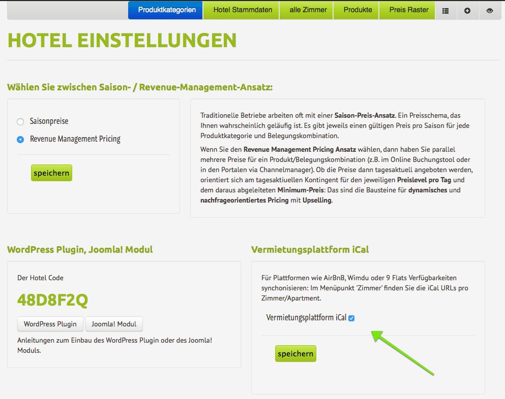 """AirBnB Kalender Feed (ical, .ics) und andere Vermietungsplattformen wie Wimdu oder 9Flats. Kalender Funktion bei den Hotel Einstellungen: """"Vermietungsplattform iCal"""" aktivieren."""
