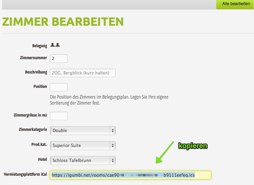 """Bei """"Zimmer bearbeiten"""" den URL des """"Vermietungsplattform iCal"""" Feed (.ics Feed) kopieren. Für Plattformen wie AirBnB, Wimdu und 9 Flats."""