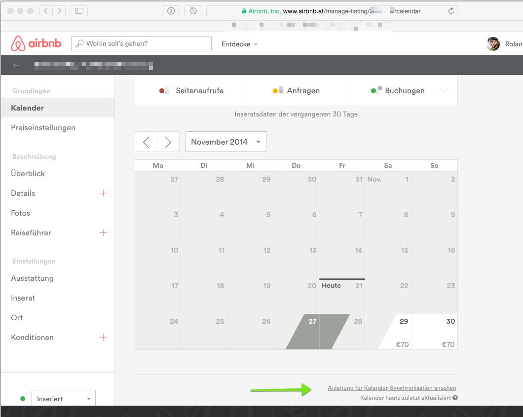 In airBnB den Kalender Feed zum synchronisieren einbauen. Der Kalender kann direkt mit der igumbi Hotelsoftware verknüpft werden werden.