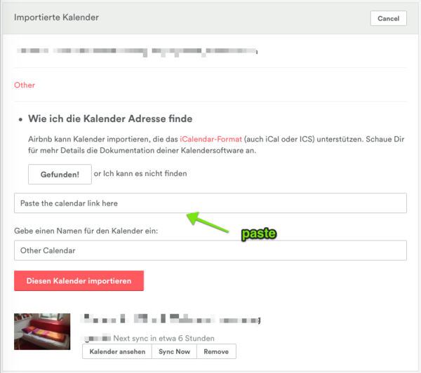 Kopierter URL (Link) vom Kalender Feed (.ics Datei, iCal feed) in das Feld bei AirBnB reinkopieren (pasten)