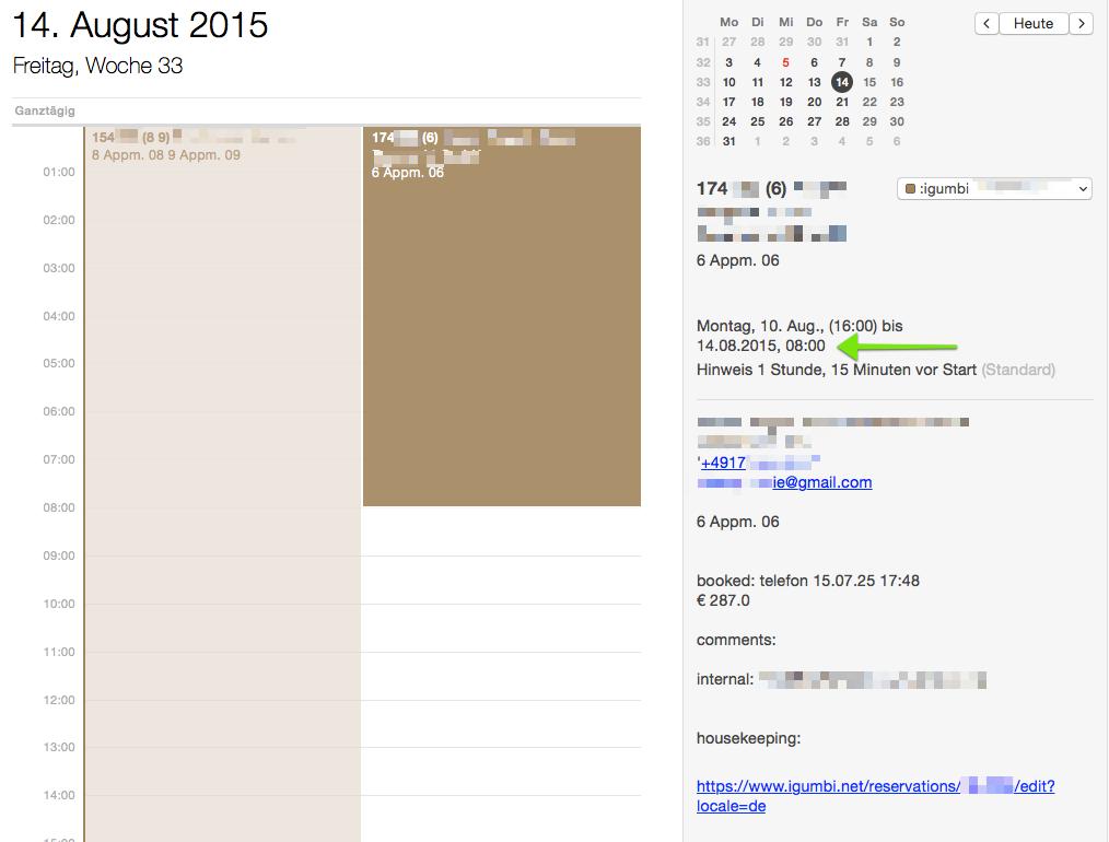 Die Reservierungsdaten können in einen Kalender eingebunden werden. Die Abreisezeit ist die in der Reservierung eingetragene