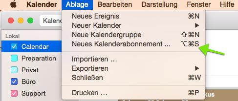 iCal URL des Verfügbarkeitskalenders in Apple Kalender eintragen. Reservierungsdaten werden aus der igumbi online Hotelsoftware abgerufen.