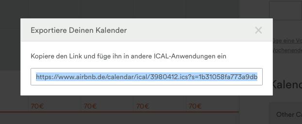 URL des Airbnb Export Kalender kopieren um den iCal Feed mit der igumbi Hotelsoftware zu verbinden. Reservierungen werden von dieser URL abgerufen