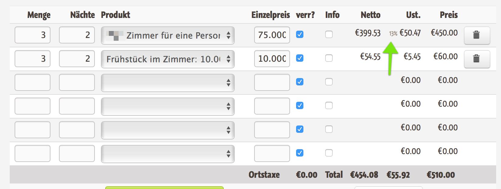 Bei den Produktzeilen wird für Betriebe aus Österreich ein Hinweis ausgegeben dass der Mehrwertsteuersatz 13% beträgt.