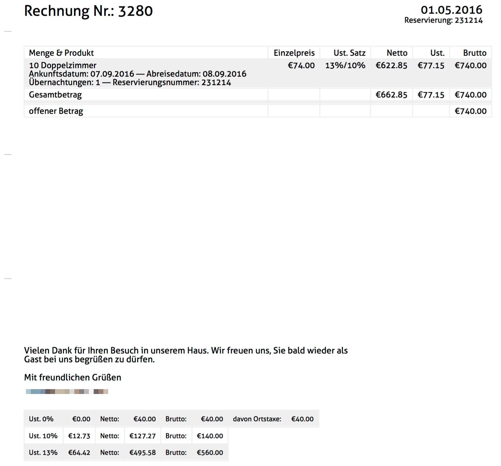 Pauschale verrechnet: Die unterschiedlichen Steuersätze werden in der Tabelle darunter ausgewiesen