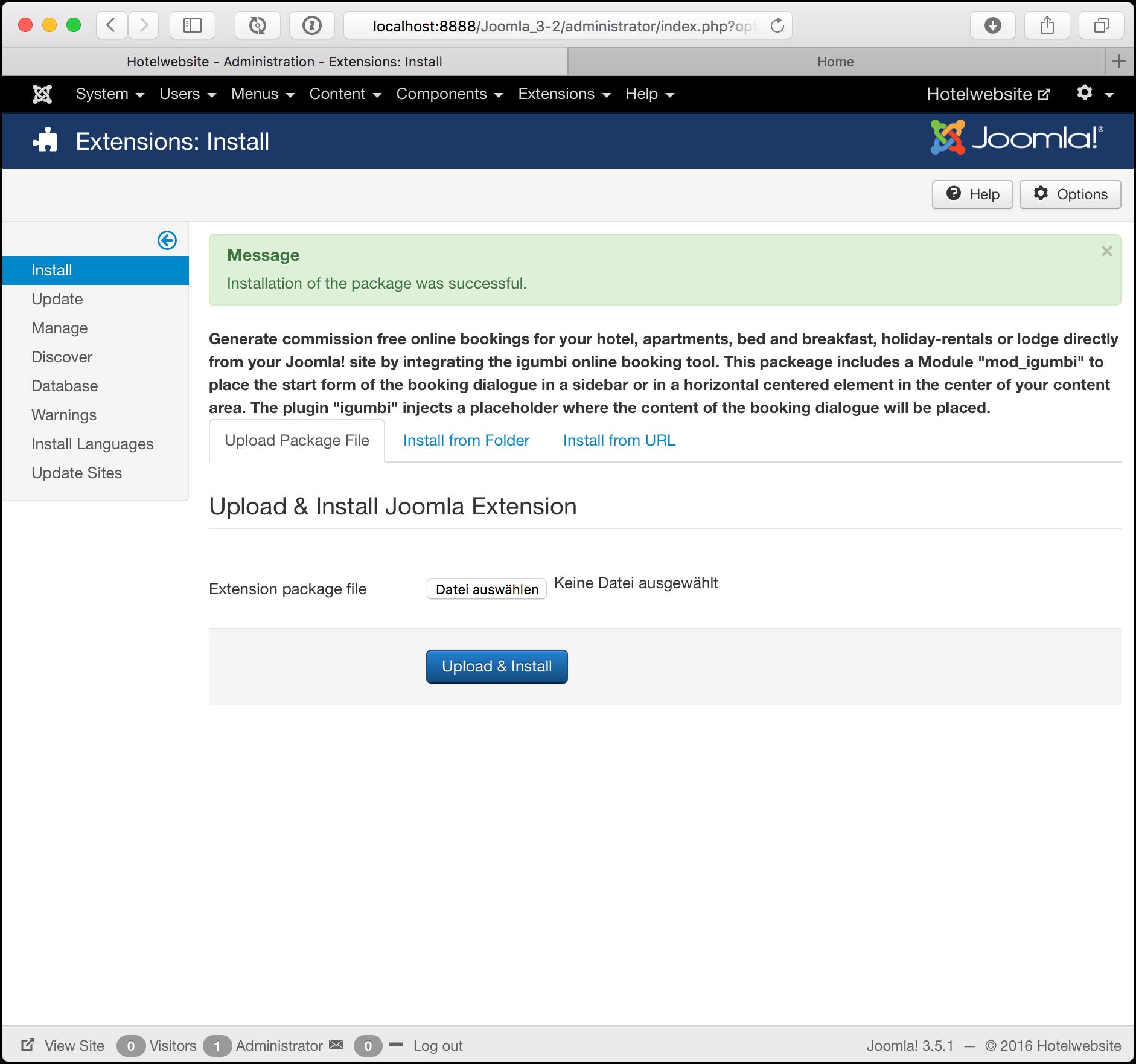igumbi Hotel und Fewo Buchungssystem Paket Zip Datei Downloaden und als ZIP Datei im Joomla Admin Interface installieren.