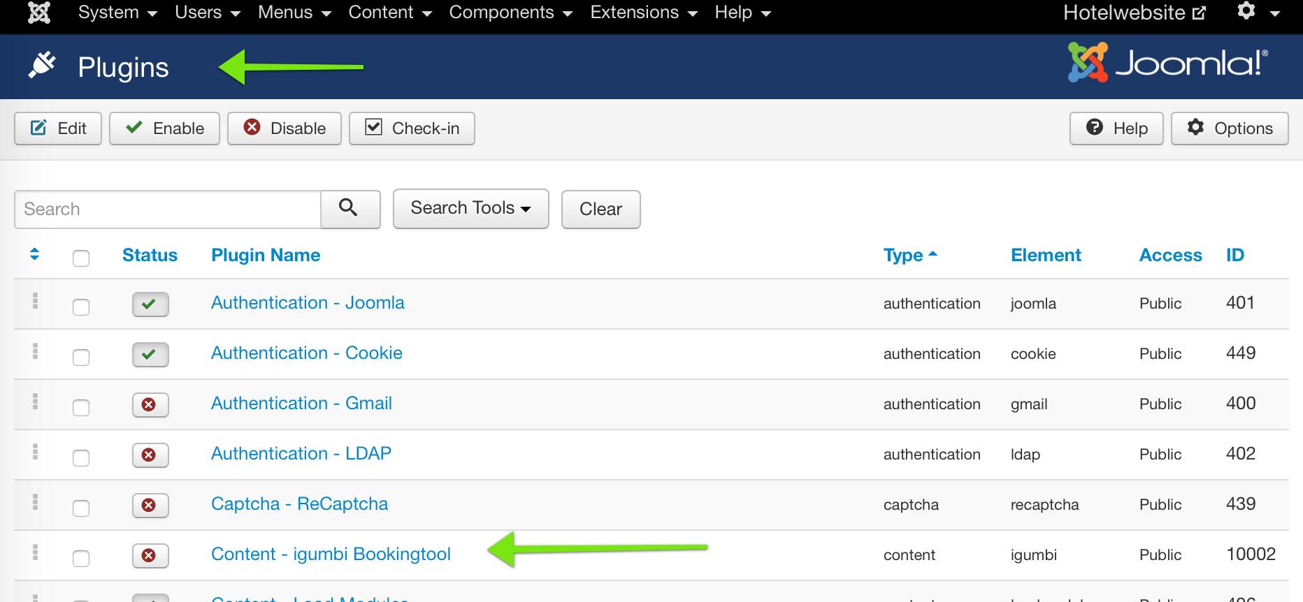 Das Plugin aktivieren. Das Plugin sorgt dafür das die Inhalte des Buchungsdialogs in der Website im Content Bereich platziert werden können.
