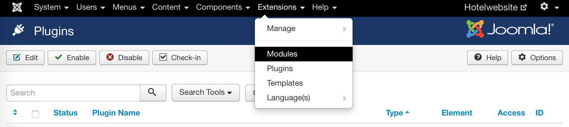 Im Bereich Extensions das Plugin und das Modul verwalten