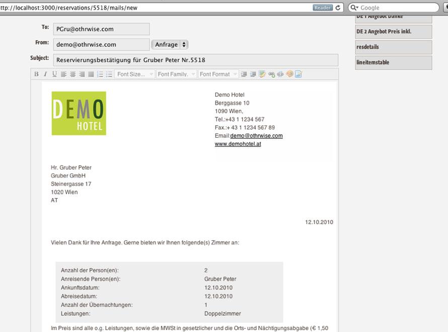 E-Mail mit Vorlage schreiben in der igumbi online Hotelsoftware: Bearbeiten und personalisieren des Textes vor dem Versand ist im Browser Editor möglich