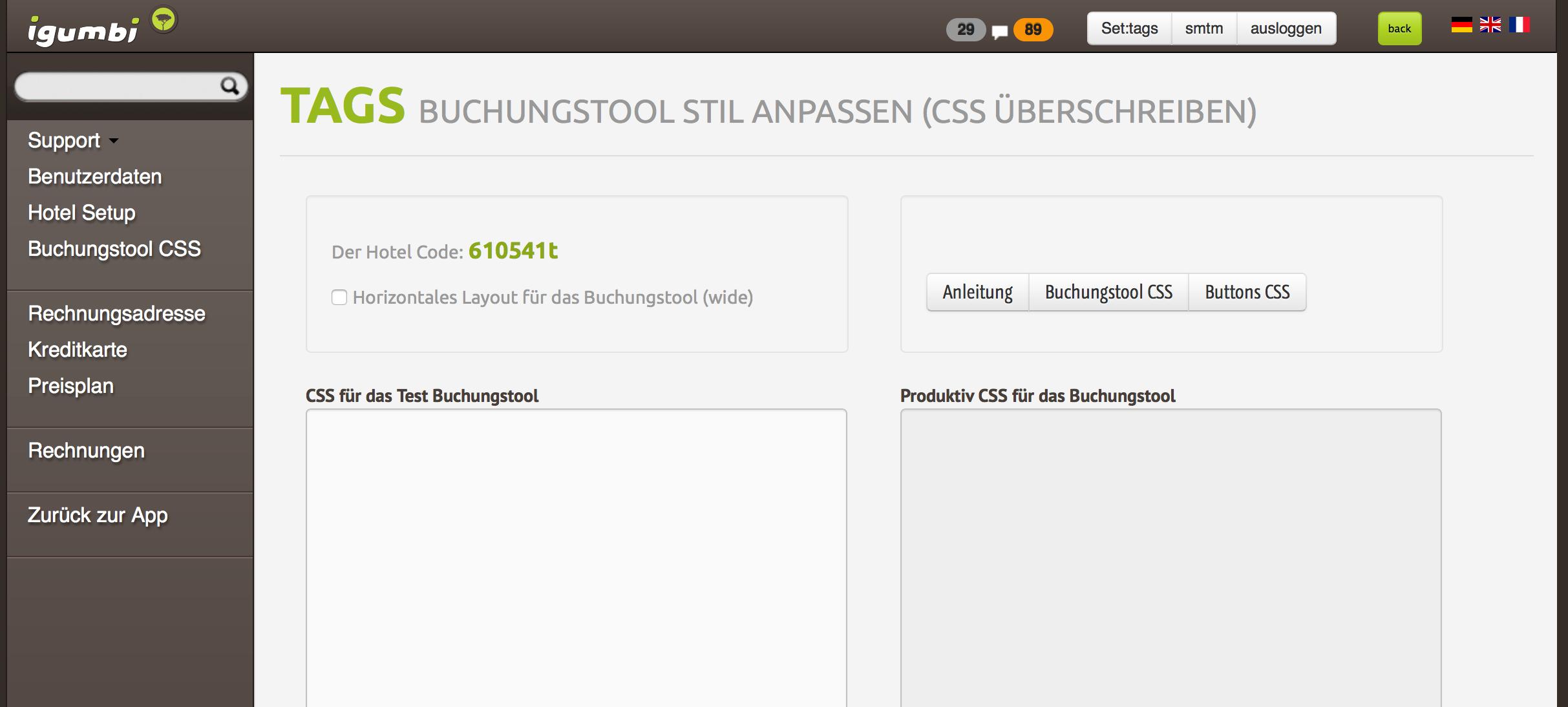 Im igumbi Backend kann das CSS (Stile, Größe, Farben) angepasst werden damit das Buchungstool gut mit dem Joomla! Template der Website zusammen passt.